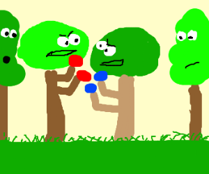 Fighting trees with spectators