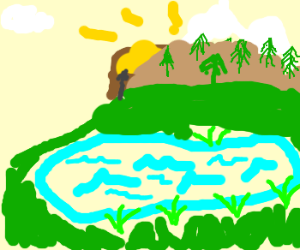 Treasure is behind a mountain and a lake
