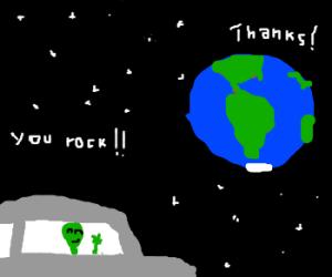Alien greets Earth