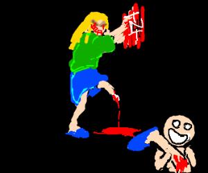 One-legged nurse goes crazy, throws bomb
