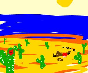 Sleepy Cowboy On A Cactus Beach