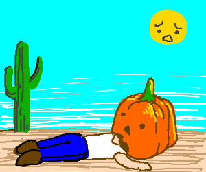Man falls asleep in desert with pumpkin