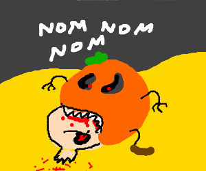 man's head is eaten by pumkin in desert