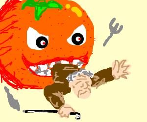 Orange eating old man