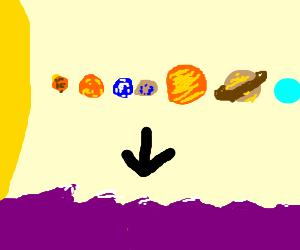 The solar system falls into purple ocean