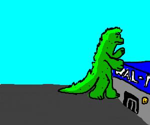 Godzilla smashes Wal-Mart