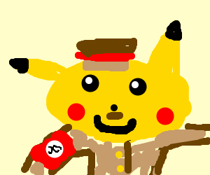 Pikachu with hitlerstache.