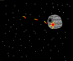 Death Star hit by read meteors
