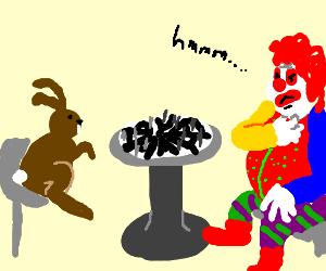 Rabbit and clown play circle-based chess