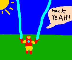 Dwarf version of iron man says fuck yeah