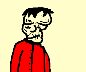 The elephant man wears a red shirt.