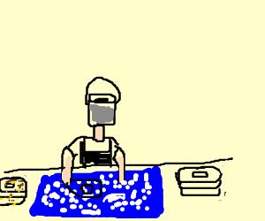 Bucket-face dishwasher.