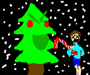 Evil christmas tree stabs boy with candy