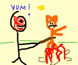 Man with bloody face roasting a red cat