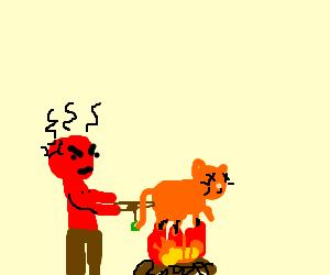 Sunburnt man roasts a cat over open fire
