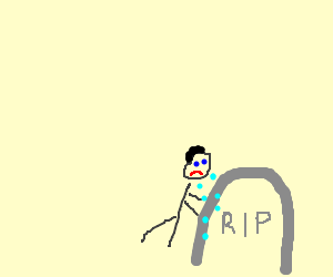 Man crying over a tomb