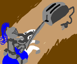 A knight jousting with a toaster