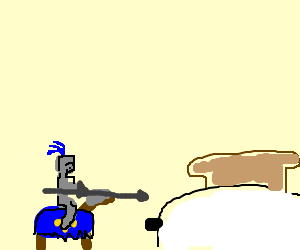 Jouster attacks a toaster