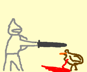 Sir Lancelot slayed the beastly chicken