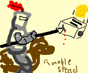 Knight stabs a rooster.