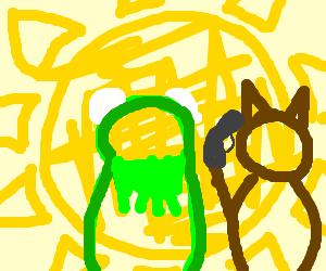 Kermit and bear w/guns looks into light