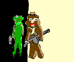 Kermit and bear friend as wiseguys