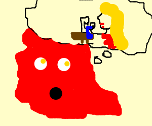 Red blob thinks about woman sowing