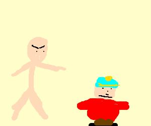 teacher pointing finger on Cartman