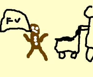 Gingerbread man yells at baby