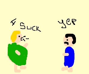 Fat green dude sucks more than friend