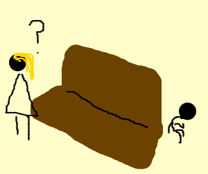 Mom looks for son hiding behind sofa