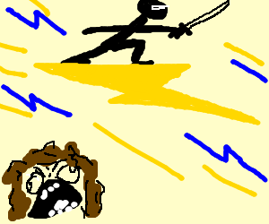 Ninja rides lightning bolt; woman mad
