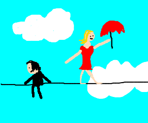 girl tightropes in the sky with sad emo
