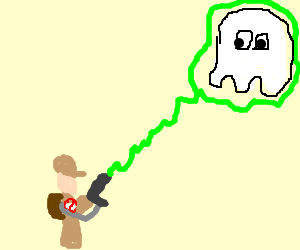 ghost buster shoots white pacman ghost