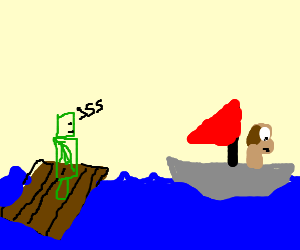 Wallace sails away from raft creeper.