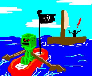 Creeper uses raft to assault sailor