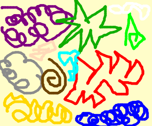 alot of colourful scribbles
