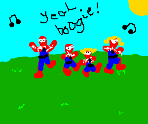 Spiderman family dance in a field