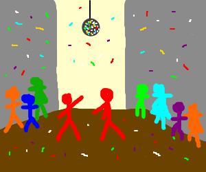 Red stick men dancing in disco
