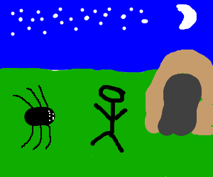 caveman encounters huge spider at night