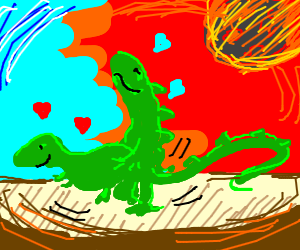 Dinos in love oblivious to incoming doom