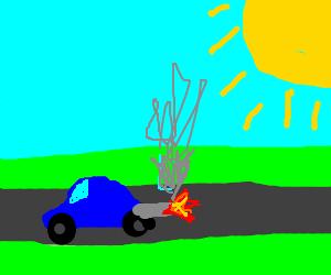Car backfires on a sunny day