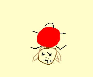 fat man in red shirt sits on voodoo head