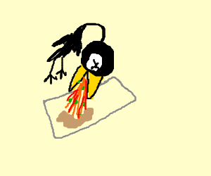 skinny  crow pukes on paper