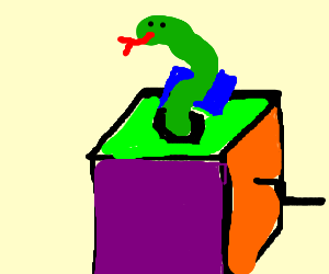 Snake popping out of box