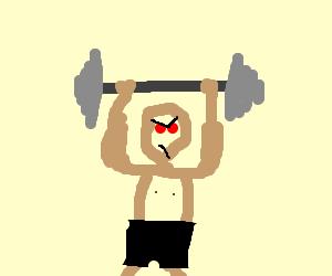 evil laughing man filmed lifting stuff