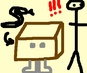 Solid Snake being caught in box