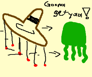 OMG a Sombrao chases a green squid