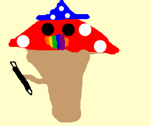 wizard mushroom with rainbow lips