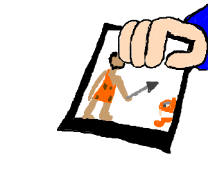 Picture of caveman hunting, hold by hand